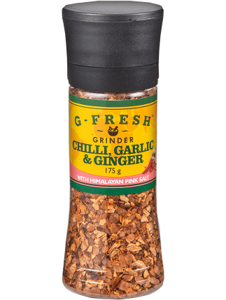 Himalayan Pink Salt with Chilli, Garlic and Ginger large grinder